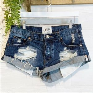 One Teaspoon | Bandits Distressed Short, Sz 28